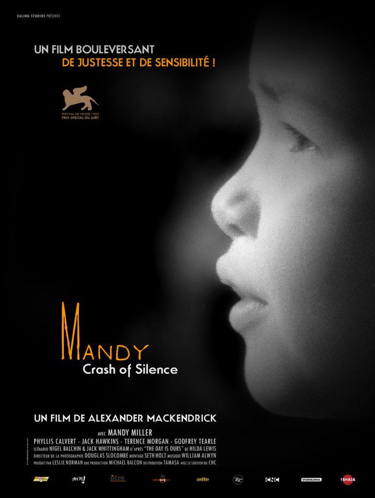 """affiche en noir et blanc du film """"Mandy"""", l'actrice qui joue la petite fille est sur l'image, légèrement de profil"""